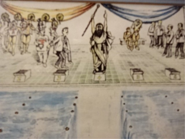 WATERCOLOR PAINTING, RABBI PARTING THE WATER, UNSIGNED, - 3