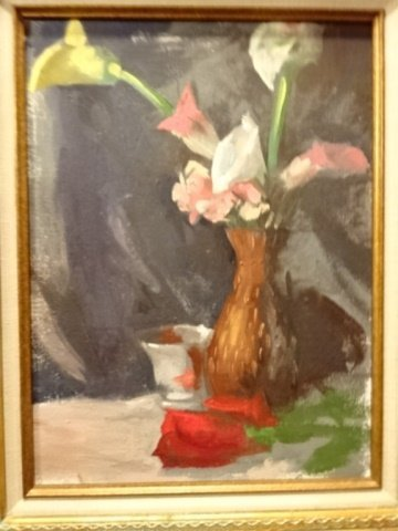 OIL ON CANVAS PAINTING, FLORAL STILL LIFE, UNSIGNED, - 2