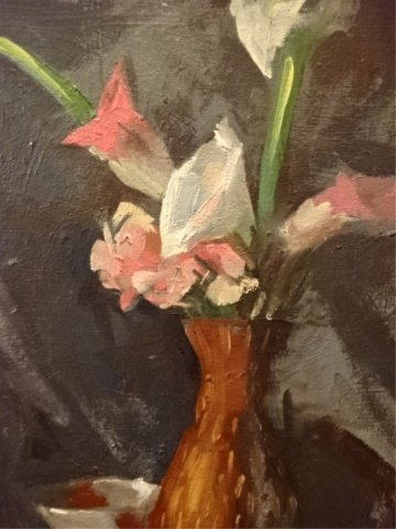 OIL ON CANVAS PAINTING, FLORAL STILL LIFE, UNSIGNED, - 3