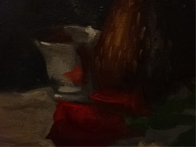OIL ON CANVAS PAINTING, FLORAL STILL LIFE, UNSIGNED, - 4