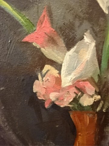OIL ON CANVAS PAINTING, FLORAL STILL LIFE, UNSIGNED, - 6