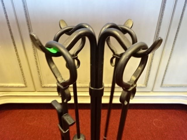 IRON FIREPLACE ACCESORIES AND RACK, INCLUDES POKER, - 4