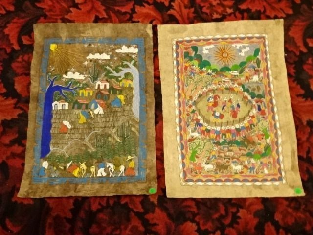 2 CENTRAL AMERICAN PAINTINGS ON BARK PAPER, UNFRAMED,