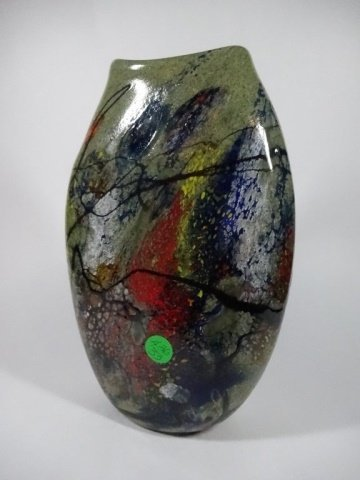 "ART GLASS VASE, APPROX 10.25""H - 4"