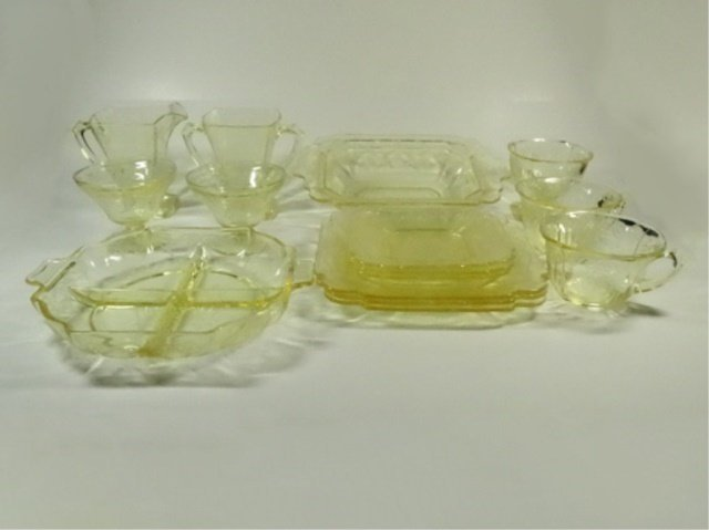 15 PC YELLOW DEPRESSION GLASS, INCLUDES INDIANA GLASS - 5