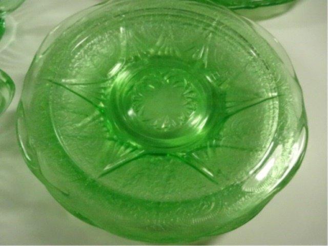 15 PC GREEN DEPRESSION GLASS, INCLUDES HAZEL ATLAS - 4