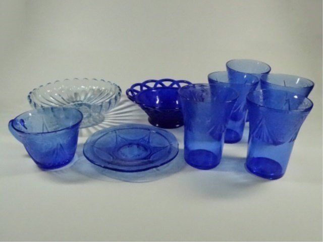 9 PC BLUE DEPRESSION GLASS, INCLUDES 5 TUMBLERS