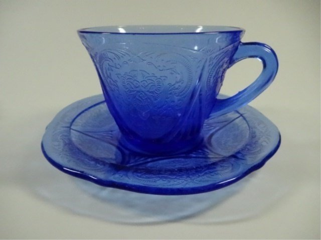 9 PC BLUE DEPRESSION GLASS, INCLUDES 5 TUMBLERS - 3