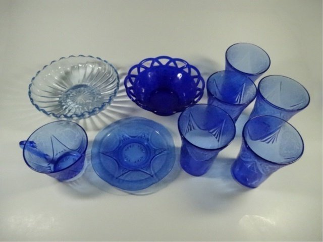 9 PC BLUE DEPRESSION GLASS, INCLUDES 5 TUMBLERS - 6
