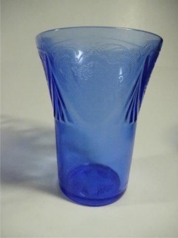 9 PC BLUE DEPRESSION GLASS, INCLUDES 5 TUMBLERS - 8