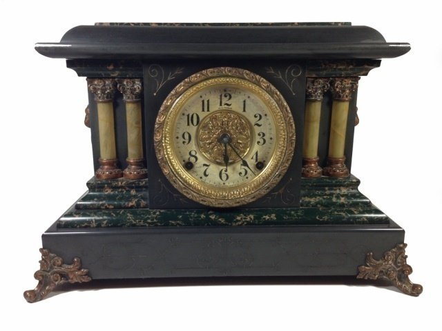 ANTIQUE SETH THOMAS ADAMANTINE MANTLE CLOCK, MOVEMENT