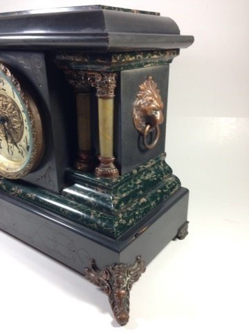 ANTIQUE SETH THOMAS ADAMANTINE MANTLE CLOCK, MOVEMENT - 6