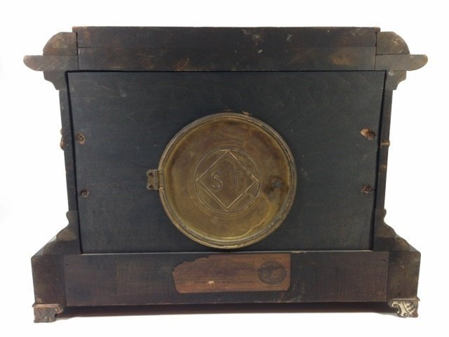 ANTIQUE SETH THOMAS ADAMANTINE MANTLE CLOCK, MOVEMENT - 9
