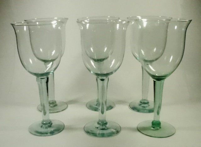 "6 PC LARGE GREEN GLASS GOBLETS, APPROX 9.5""H"