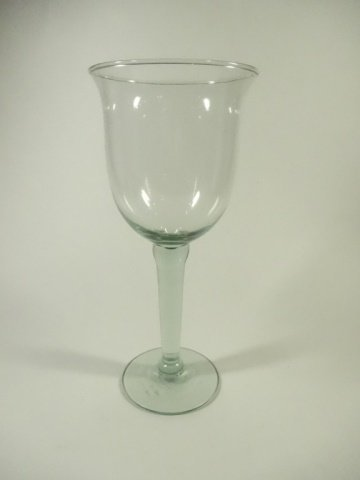 "6 PC LARGE GREEN GLASS GOBLETS, APPROX 9.5""H - 2"