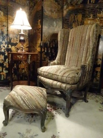 2 PC LOUIS XV STYLE WING CHAIR AND OTTOMAN, CARVED WOOD