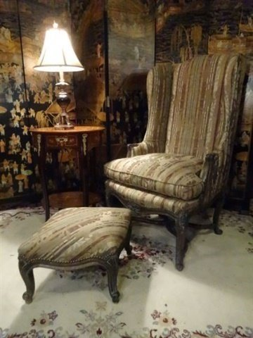 2 PC LOUIS XV STYLE WING CHAIR AND OTTOMAN, CARVED WOOD - 2