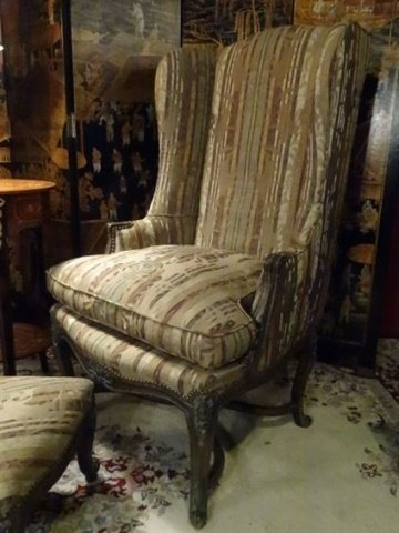 2 PC LOUIS XV STYLE WING CHAIR AND OTTOMAN, CARVED WOOD - 3
