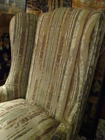 2 PC LOUIS XV STYLE WING CHAIR AND OTTOMAN, CARVED WOOD - 4
