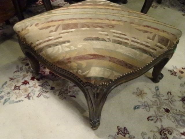 2 PC LOUIS XV STYLE WING CHAIR AND OTTOMAN, CARVED WOOD - 7