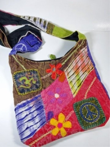 CLOTH HOBO BAG WITH FLOWERS, OM SYMBOL & PEACE SIGN,
