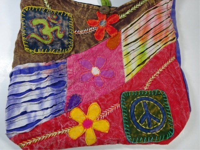CLOTH HOBO BAG WITH FLOWERS, OM SYMBOL & PEACE SIGN, - 2