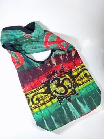 CLOTH HOBO BAG WITH OM SYMBOL & PEACE SIGN, APPROX