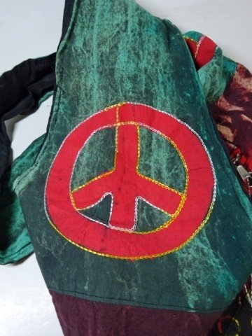CLOTH HOBO BAG WITH OM SYMBOL & PEACE SIGN, APPROX - 3