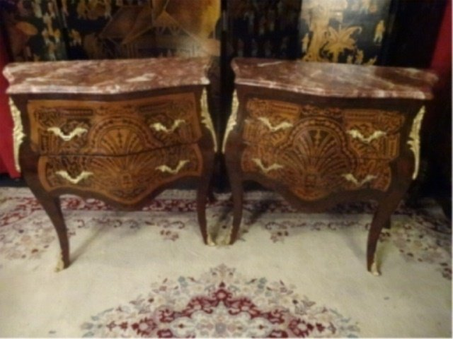 2 LOUIS XV STYLE BOMBE CHESTS, BEVELED MARBLE TOPS, 2