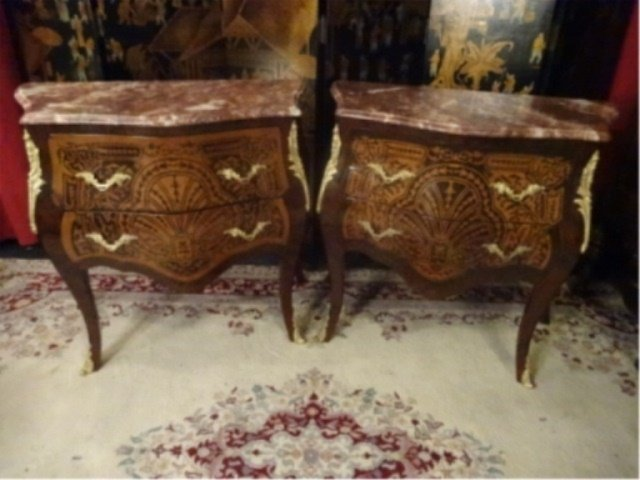 2 LOUIS XV STYLE BOMBE CHESTS, BEVELED MARBLE TOPS, 2 - 3