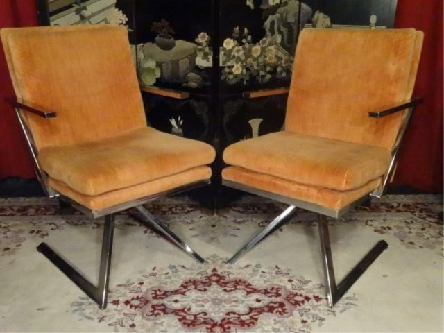 PAIR 1970's CHROME Z BASE ARMCHAIRS, MILO BAUGHMAN