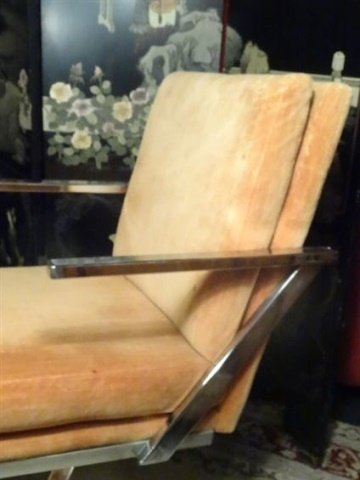 PAIR 1970's CHROME Z BASE ARMCHAIRS, MILO BAUGHMAN - 6