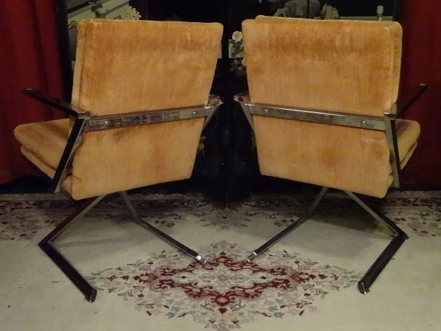 PAIR 1970's CHROME Z BASE ARMCHAIRS, MILO BAUGHMAN - 8