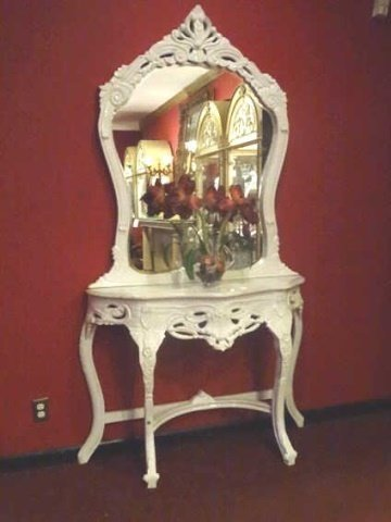 2 PC LOUIS XV STYLE CONSOLE AND MIRROR, MARBLE TOP, NEW