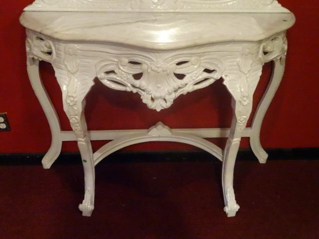 2 PC LOUIS XV STYLE CONSOLE AND MIRROR, MARBLE TOP, NEW - 7