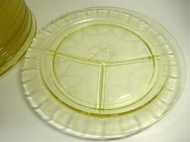 "12 PC YELLOW DEPRESSION GLASS GRILL PLATES (10.5""), - 2"