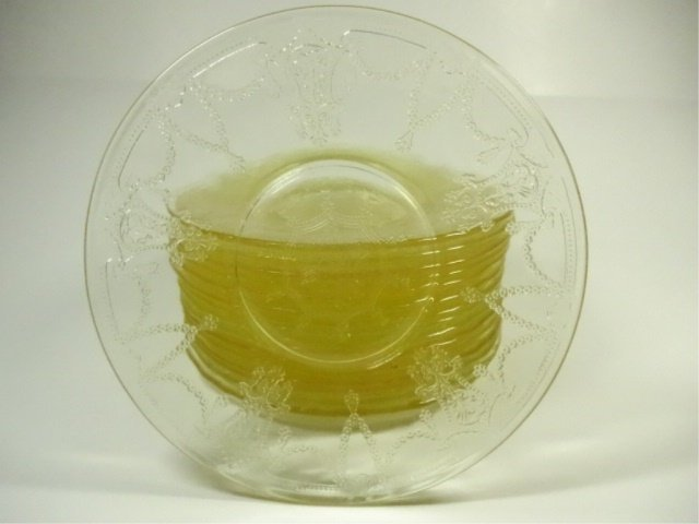 16 PC YELLOW DEPRESSION GLASS SAUCER PLATES, APPROX - 2