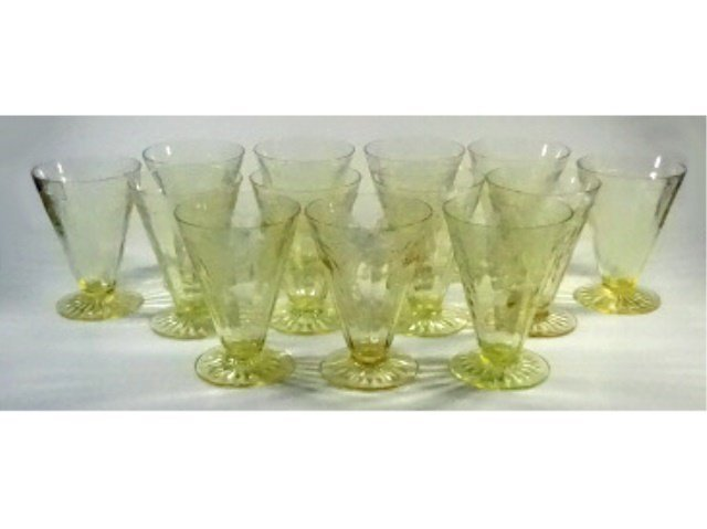 """13 PC YELLOW DEPRESSION GLASS GLASSES (4.75""""H), ANCHOR - 2"""