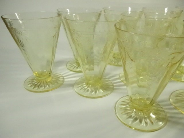 """13 PC YELLOW DEPRESSION GLASS GLASSES (4.75""""H), ANCHOR - 4"""