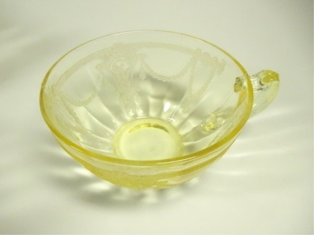 18 PC YELLOW DEPRESSION GLASS CUPS, ANCHOR HOCKING - 4