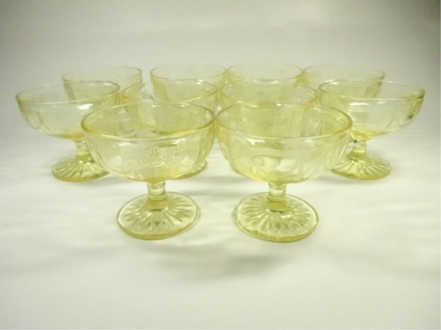 10 PC YELLOW DEPRESSION GLASS SHERBETS, ANCHOR HOCKING