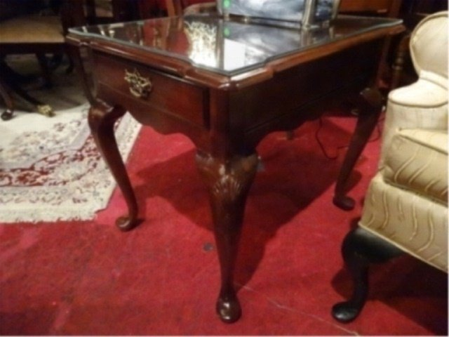 STANLEY MAHOGANY SIDE TABLE, SINGLE DRAWER, BRASS PULL,