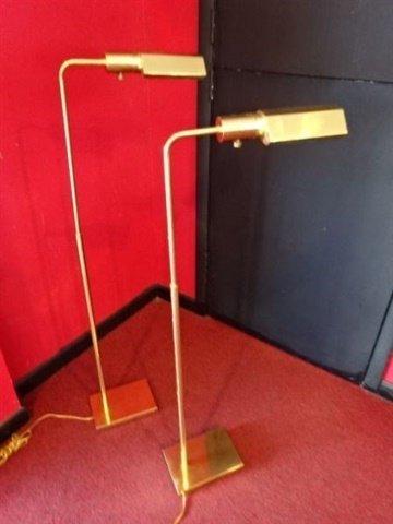 PAIR BRASS PHARMACY FLOOR LAMPS, ADJUSTABLE HEIGHT, - 2