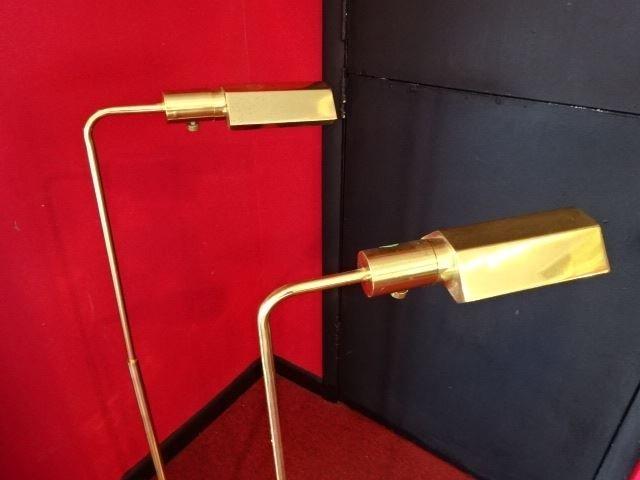 PAIR BRASS PHARMACY FLOOR LAMPS, ADJUSTABLE HEIGHT, - 3