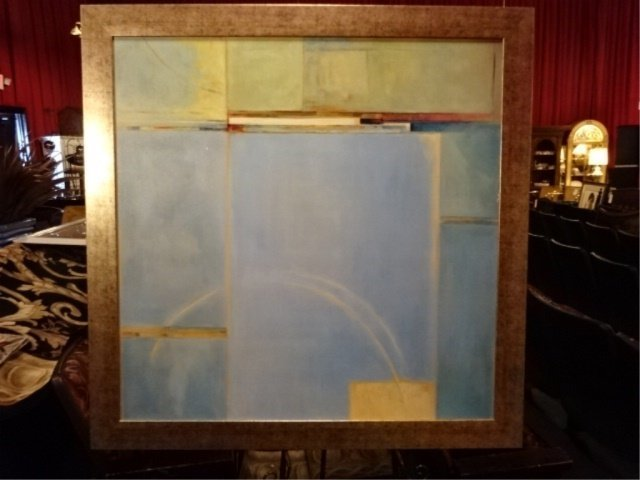 LARGE ABSTRACT PRINT, IN IN SILVER FINISH FRAME, FRAMED
