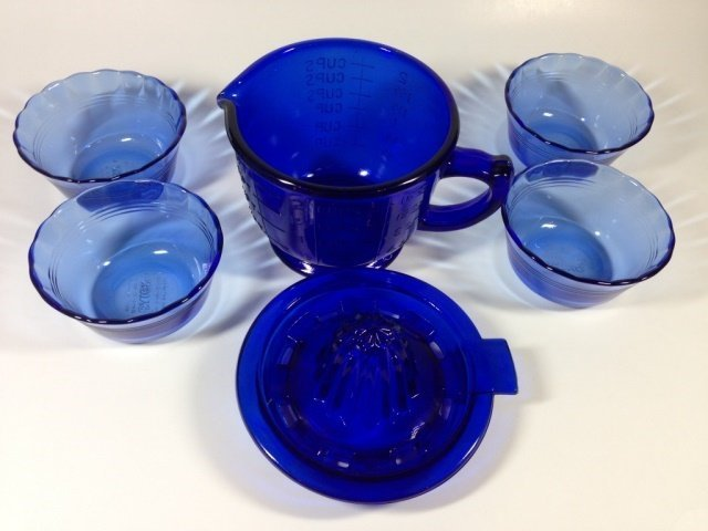 6 PC COBALT BLUE MEASURING & MIXING CUP WITH JUICER TOP - 3