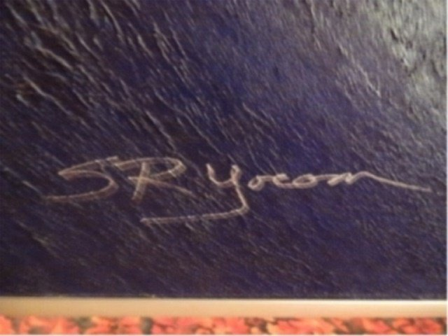 SR YOCOM SIGNED ABSTRACT OIL ON CANVAS PAINTING, - 7