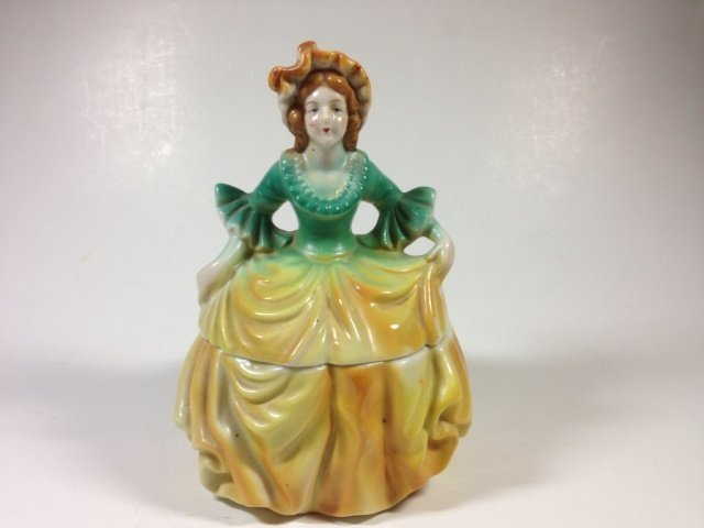 PORCELAIN FIGURAL BOX, MADE IN OCCUPIED JAPAN, FIGURE - 2