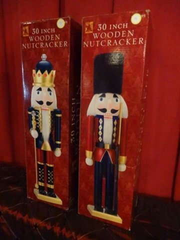 PAIR LARGE CHRISTMAS WOODEN NUTCRACKERS, ONE IN BLUE - 2