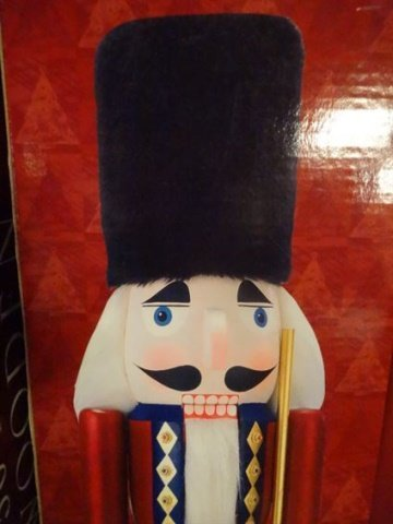 PAIR LARGE CHRISTMAS WOODEN NUTCRACKERS, ONE IN BLUE - 6
